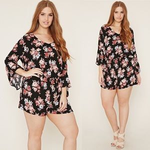 Forever 21+ • Romantic Floral Bell Sleeve Romper